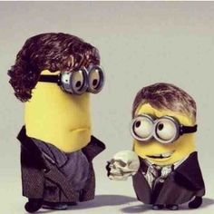 Sherlock and John minions. Two of my favorite things - Sherlock and minions! Sherlock Holmes, Sherlock 3, Sherlock Bored, Charlie Chaplin, Superwholock, Minions Love, Minions Minions, Minions Quotes, Mrs Hudson
