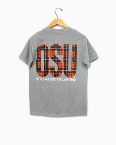 Oklahoma State OSU Orange Plaid on Gray Tee