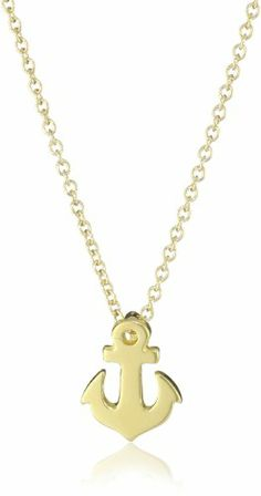 "Dogeared Jewels and Gifts ""Friendship"" Gold-Plated Sterling Silver Smooth Anchor Pendant Necklace, 18.4″"