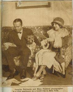 My heroes, Mary Pickford and Douglas Fairbanks with their wire fox terrier!