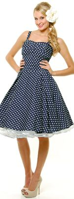 *In Stock & Ready to ShipUnique Vintage- Navy & White Polka Dot Ruched Swing Dress - XS-3X