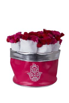 """Embroidered Hamsa towel basket, with white and pink cotton hands towels 5-pieces set. Perfect for gifts or for your house bathroom. Can also be used as a jewelry and make up basket. Approx Measure : 10""""x5.5""""x6""""   Hamsa Towel Basket  by Le Beau Maroc . Home & Gifts - Home Decor - Decorative Objects Florida"""