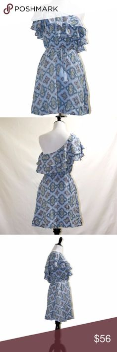 ab5d408485424 NWT Anthropologie blue off shoulder mini dress New with tag from Sample  sale 100% Rayon