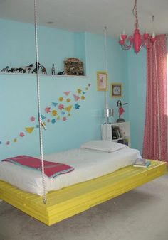 Bedroom, Cool Designs Swing Bed Good Hippie Bedroom Concepts Picture Good Blue Color Wall Nice White And Yellow Color Bedding Nice Small Storage Good Picture Frame Small Shaped ~ The Colorful Designs Of Hippie Bedrooms That Can Be Your Choice To Design Your Bedroom