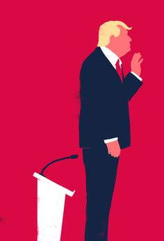 Trump - SébastienThibault Editorial Illustration with a very clever composition. The humour is enhanced via the subtlety of the composition. Bright, pink background lifts the image and the textured surface adds a bit more interest.   SébastienThibault does illustrations for The Guardian, Times magazine and many others. He sketches first and then builds his ideas in photoshop and illustrator.