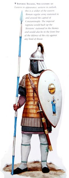 'older Thyatian soldier attire in/around Ochalea...  [0800 - 899 Soldado regular imperio de oriente,  Imperial tagmata, 9th century]