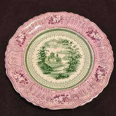 Staffordshire Mulberry and Green Transferware Plate Cologne - 1832 Stevenson