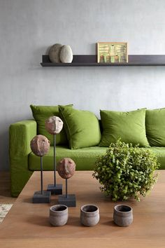 For those of us of a certain age, Pantone's Color of the Year for 2017 is a throwback to the palette of our childhood homes. Greenery a yellow-green shade chosen by the folks at Pantone as… Green Sofa, Wholesale Home Decor, Decor, House Interior, Interior Design Trends, Cheap Home Decor, Interior, Green Interiors, Home Decor