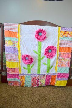 RAG QUILT, Ruffled Flower, Pink, Yellow, Orange, Toddler Bedding, Made to Order