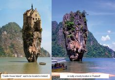 I've been seeing this image quite a bit here on Pinterest and other places lately...people posting the castle house as if it were a real place in Ireland!  While I, too, wish it were a real place, it is actually a very nicely done manipulation of a house on a lovely island rock in Thailand!  I hate to burst peoples fantasies but it's good to sometimes be reminded that not everything we see on the internet is real :)