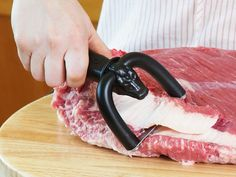 Qwick trim brisket trimmer helps you trim brisket and other meat and fish skin quick. Qwick Trim is a great barbecue trimming tool for pit masters and backyard bbq's alike. Quickly trim fat from brisket and other meat with Qwick Trim Brisket Trimmer. Cooking Gadgets, Cooking Tips, Cooking Chef, Cooking Turkey, Cooking School, Cooking Classes, Food Tips, Food Ideas, Cooking Recipes