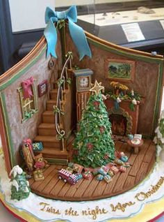 An old-fashioned Christmas scene made from gingerbread, royal icing, and fondant for some of the decorations. Created by Mary E. of Timonium, MD. See more details of this classic Christmas scene.