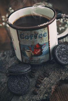 Vintage coffee cup - oreo- dark food photography