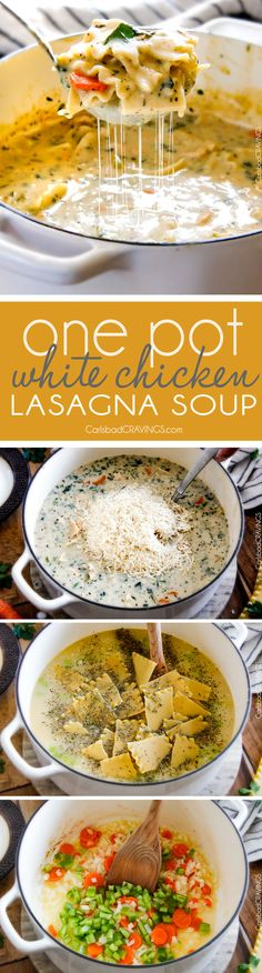 Easy One Pot White Chicken Lasagna Soup - my family LOVES this soup! It tastes just like creamy white chicken lasagna with layers of cheesy noodles without all the layering or dishes! Simply saute chicken and veggies and dump in all ingredients and simmer away!: