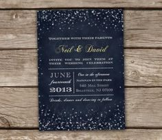 Midnight Blue Wedding Invitations  DIY Printable by chitrap, $22.00