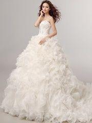 Shop High Grade Custom Sheath Strapless Organza Wedding Dresses For Bride Women Ball Gown Evening Dress