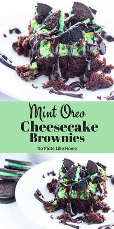 Mint Oreo Cheesecake Brownies bring together four great dessert flavors: chocolate, cheesecake, mint and Oreo cookies! Drizzled with hot fudge, this minty dessert is irresistible! Includes a delicious homemade brownie recipe. Mint Desserts, Great Desserts, Delicious Desserts, Dessert Recipes, Yummy Food, Health Desserts, Cake Recipes, Health Foods, Cheesecake Brownie Bars