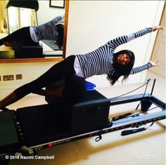 Naomi Campbell working out on the Reformer