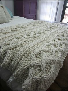 Cable Knit Blanket – Made-To-Order – Knitting Blanket 2020 Cable Knit Blankets, Cable Knit Throw, Knitted Afghans, Knitted Throws, Knitted Bags, Cama Queen, Chunky Blanket, Manta Crochet, Knitting Projects