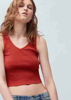 Ribbed cotton-blend top - T-shirts for Women | MANGO USA