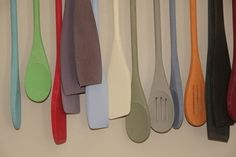 Spoons painted by Gilly for her shop, With Love in Billingshurst in West Sussex, England