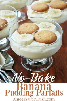 Banana puddingis a true southern classic and these easy banana pudding parfaits are just as delicious as the from-scratch version! #bananapudding #easybananapudding #puddingparfaits #puddingrecipe #pudding #dessert via @Ameecooks Homemade Desserts, Healthy Dessert Recipes, Fruit Recipes, Easy Desserts, Delicious Desserts, Awesome Desserts, Trifle Desserts, Banana Recipes, Chef Recipes