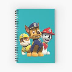 'Dog Paw Patrol ' Spiral Notebook by StefaniaAlina Paw Patrol Stickers, Dog Paws, Notebooks, My Arts, Art Prints, Printed, Awesome, Dogs, Artist