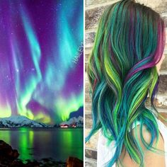 Galaxy hair is a variation of the pastel and rainbow trend that has women and men alike rushing to the hair-stylist. What makes this trend different from pastel hair is that those dying their hair … Hair Dye Colors, Hair Color Blue, Cool Hair Color, Green Hair, Colored Hair, Purple Hair, Hair Lights, Light Hair, New Hair Color Trends