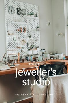 Take a tour of my jewellery studio. Militza Ortiz Jewellery is handmade in London and here is a sneak peek into my studio, Zombie Walk, Bohemian Studio, Home Office, Artist Workspace, Workshop Studio, Artist Workshop, Studio Organization, Organization Ideas, Workspace Inspiration