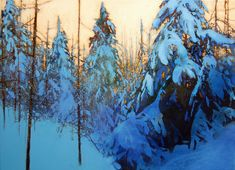 """Contemporary undefined - """"lac fortune morning"""" (Original Art from David Lidbetter Fine Art) Painting Snow, Winter Painting, Oil Painting Trees, Painting Art, Watercolor Painting, Paintings I Love, Beautiful Paintings, Indian Paintings, Abstract Paintings"""