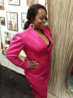 Custom iridescent pink skirt suit designed by Dangerous Mathematicians. Custom design for women's suits