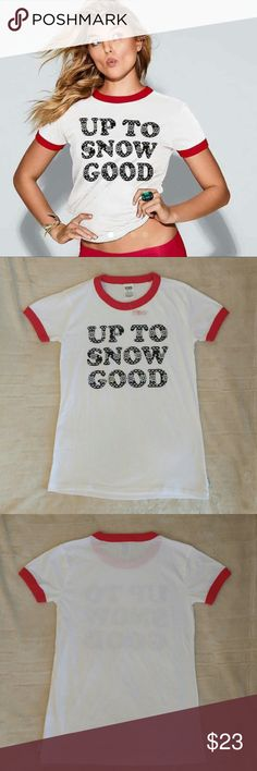 "NWT VS Holiday Ringer Tee Up To Snow Good NWT VS PINK XS Holiday Ringer Tee ""Up to Snow Good"" -Same day/next day shipping! :) *PRICE FIRM UNLESS BUNDLED* Victoria's Secret Tops"