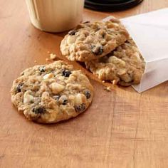 These hearty drop cookies are a twist on old-fashioned oatmeal raisin cookies.