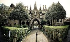 Beautiful gothic mansion in greenery