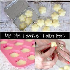Make these mini lavender lotion bars in any size and shape you want. They are super easy to make, smell and moisturize wonderfully, and package for gifting.