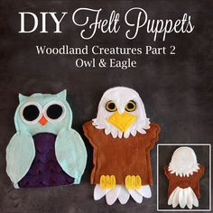 Owl and eagle hand puppets - pattern and tutorial