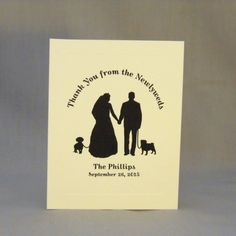 Thank You Cards for Wedding; Pug and Dachshund Dogs.