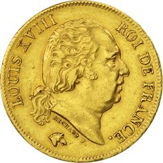 Louis XVIII 40 Francs OR Buste Habillé 1822 A Paris Rarissime