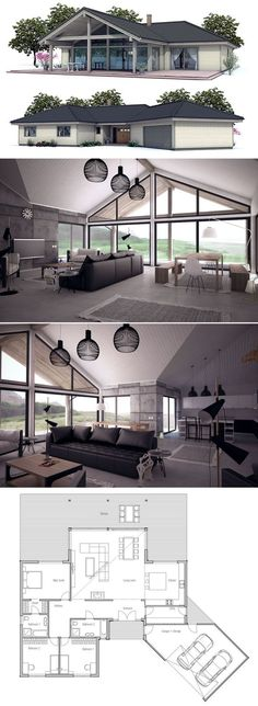 Architecture house plan, house plans, # house plans # home plans, plan … - Architectural House Plans Modern House Plans, Small House Plans, House Floor Plans, Metal Building Homes, Building A House, Building Ideas, Metal Homes, Casas Containers, Sims House