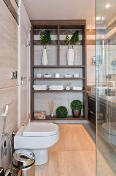 Simple Wooden Rack Added To Washroom Décor