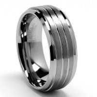 Luxury Mens Band Ring - Tungsten 9mm - 3 Satin Stripe Inlay from The Bling King