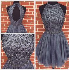 AH005 Halter High Neck Beaded Bodice Gray Homecoming Dresses Open Back Short Party Dresses