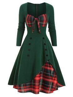 Hengshikeji Women Vintage Christmas Printed Dresses Short Sleeve Bow Knot A-Line Swing Dress Suit