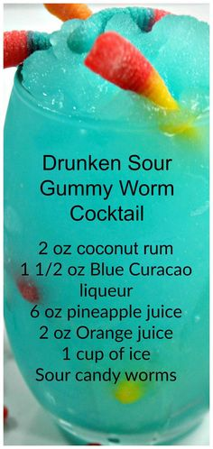 Drunken Sour Gummy Worm Cocktail ~ Such a fun and delicious drink that is perfect for any occasion! Drunken Sour Gummy Worm Cocktail ~ Such a fun and delicious drink that is perfect for any occasion! Bartender Drinks, Liquor Drinks, Cocktail Drinks, Lemonade Cocktail, Cocktail Movie, Raspberry Lemonade, Cocktail Sauce, Cocktail Attire, Cocktail Shaker