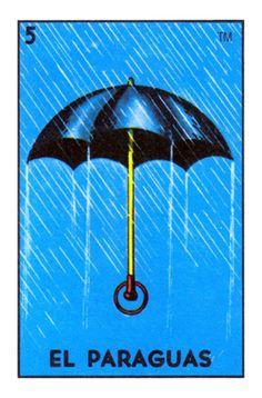 'El Paraguas Loteria Mexican Bingo Umbrella Card' Sticker by MulitoBandito Mexican Style, Mexican Folk Art, Mexican Artwork, Umbrella Cards, Rain Umbrella, Mexico Day Of The Dead, Loteria Cards, Bottle Cap Images, Aesthetic Images