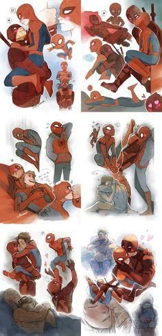 Spideypool by Moemai on DeviantArt Deadpool Kawaii, Deadpool Y Spiderman, Cute Deadpool, Deadpool Fan Art, Spiderman Art, Deadpool Tattoo, Spideypool, Superfamily, Marvel Art