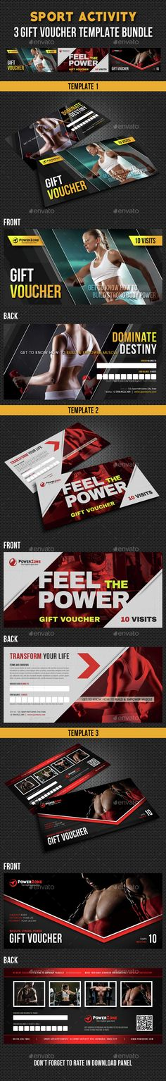 3 in 1 Sport Activity Gift Voucher Bundle 04 - Cards & Invites Print Templates