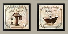 $40= Classic Prints for Decorating Bathroom; Salle De Bain & Le Baignoire (Two 12x12in Framed Pieces) Ready to hang! Gango Home Decor http://www.amazon.com/dp/B00X8HN7ZW/ref=cm_sw_r_pi_dp_Pdapwb0Z0KSAR