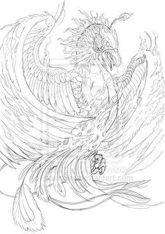 phoenix line art by posvibes.deviantart.com on @DeviantArt