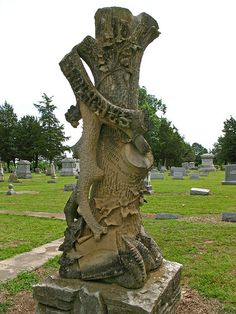 Evergreen Cemeery (Paris,TX) has to have the highest concentration of truly interesting and unusual headstones that we've ever personally visited. The Woodmen of the World markers are really common in most old cemeteries around here – but the 1880 versions are over the top ornate.